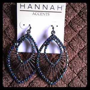 Ladies Beautiful Black iridescent earrings